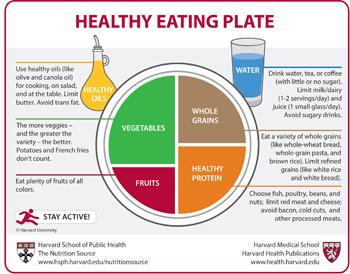 La alimentación saludable según Harvard. Grafico: Gentileza Univ. Harvard
