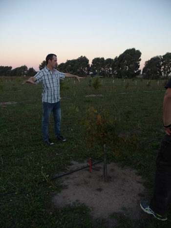 Ing. Agrónomo Graff mostrando los primeros cultivos. Foto: Cocina y Negocios